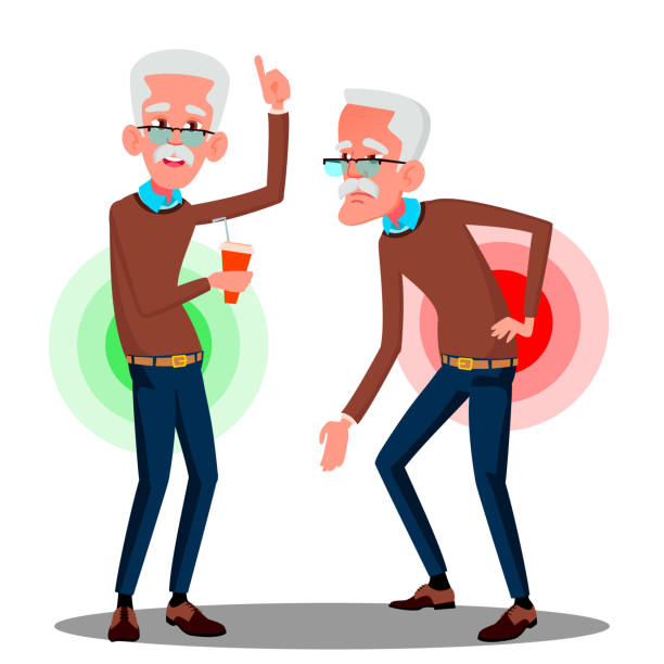 bent over old man from back ache, sciatica vector. isolated cartoon illustration - old man on a back pain silhouette stock illustrations, clip art, cartoons, & icons