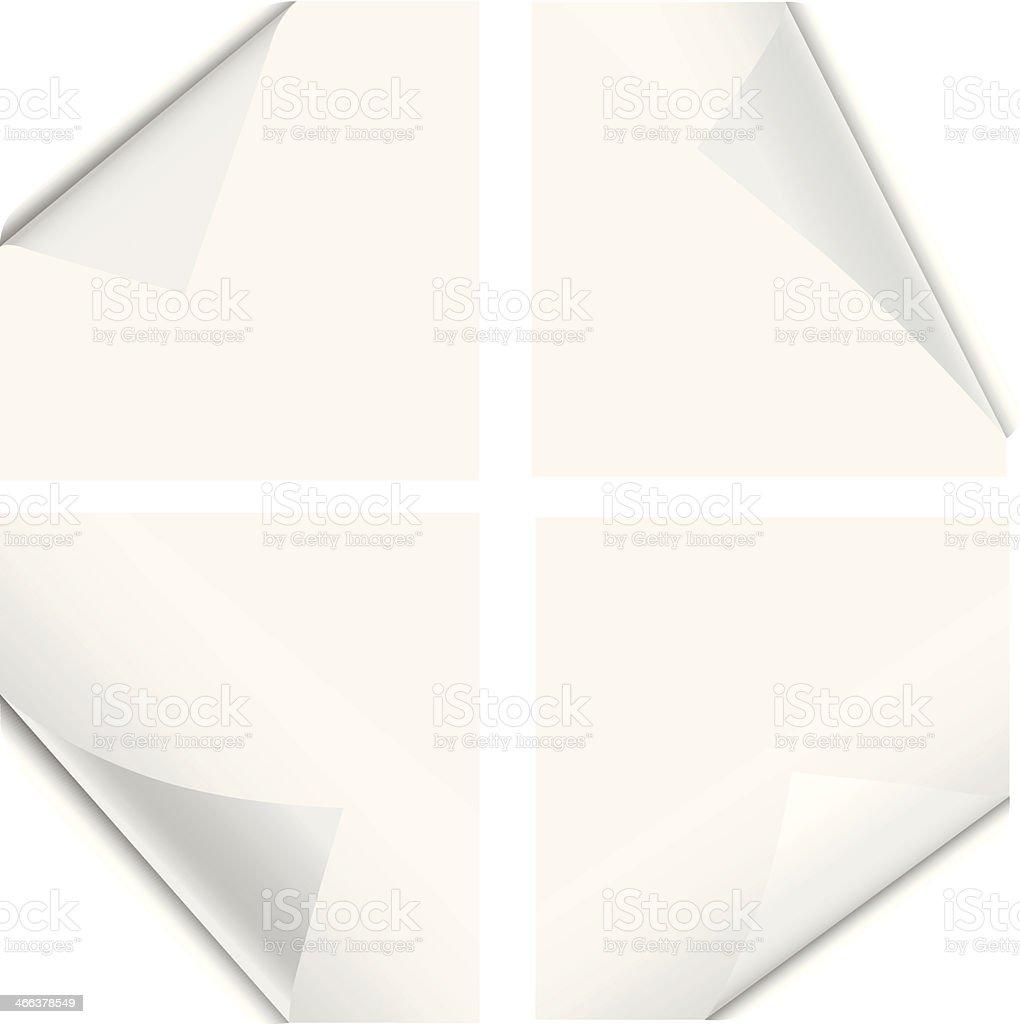Bent page corners vector art illustration