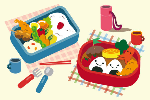 bento box vector illustration - lunch box stock illustrations, clip art, cartoons, & icons