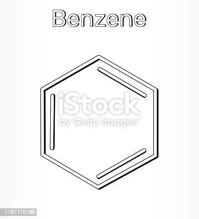Benzene molecule  C6H6 - structural chemical. Vector illustration