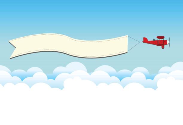 Beplane on the sky vector art illustration