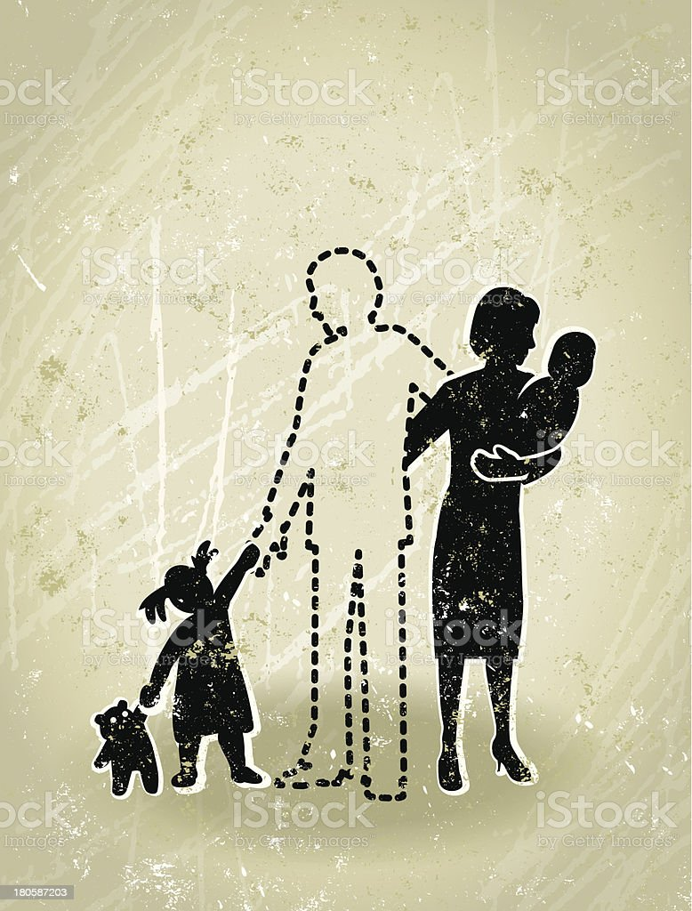 Bereavement - Missing Father from a Family royalty-free bereavement missing father from a family stock vector art & more images of 12-17 months