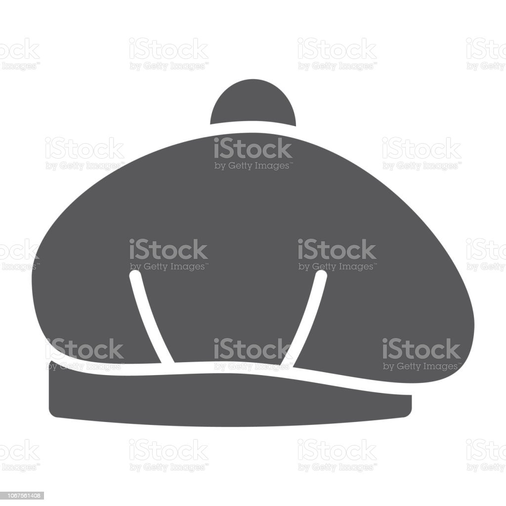 14f0f487ac73d Beret Glyph Icon Hat And Clothing Cap Sign Vector Graphics A Solid ...