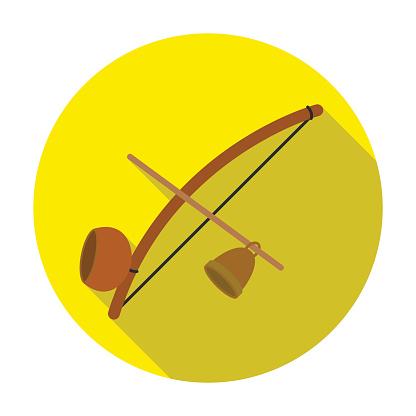 Berimbau icon in flat style isolated on white background. Brazil country symbol stock vector illustration.