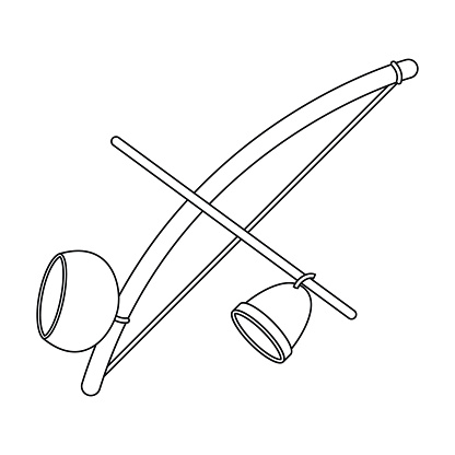 Berimbau icon in outline style isolated on white background. Brazil country symbol stock vector illustration.