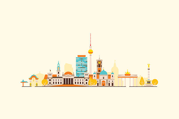 베를린 추상적임 스카이라인 - 베를린 stock illustrations