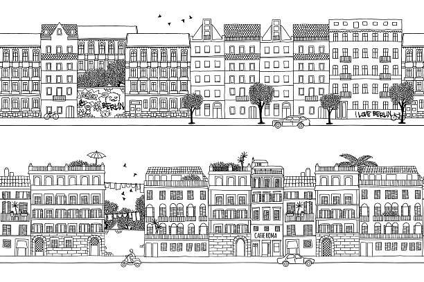 bildbanksillustrationer, clip art samt tecknat material och ikoner med berlin and rome banner - berlin street