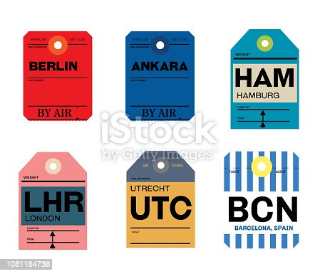 istock berlin ankara hamburg utrecht barcelona london baggage tag 1081164736