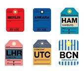 berlin ankara hamburg utrecht barcelona london baggage tag , vintage design