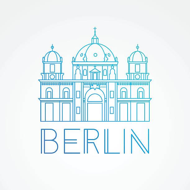 ilustrações de stock, clip art, desenhos animados e ícones de berlin cathedral - detailed linear icon. germany - berlin wall