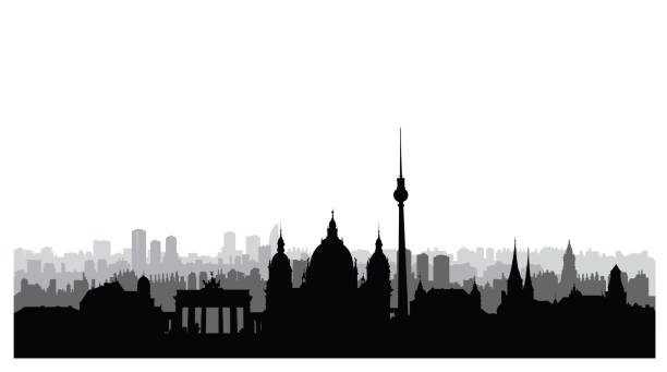 Berlin city buildings silhouette. German urban landscape. Berlin cityscape with landmarks. Travel Germany skyline background. vector art illustration