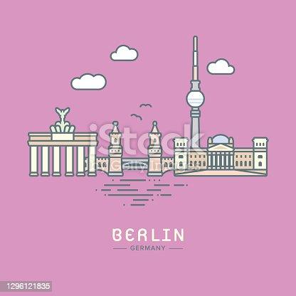 istock Berlin City landmarks flat vector illustration 1296121835