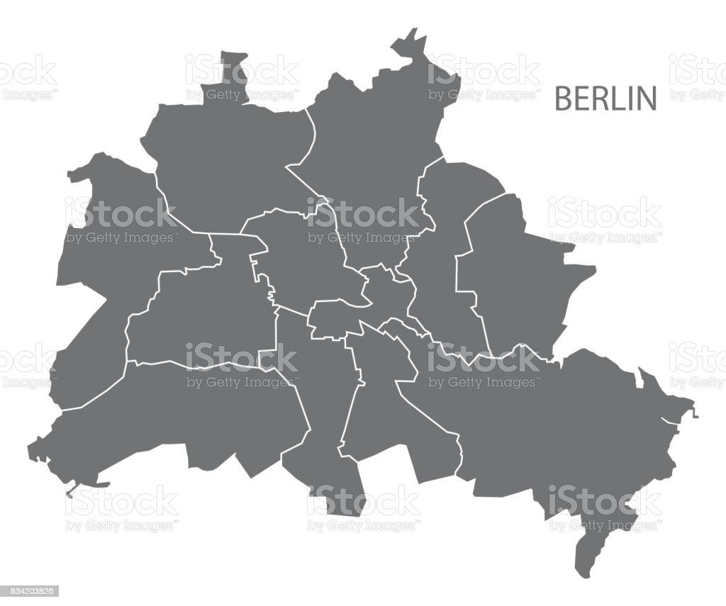 Berlin city map with boroughs grey illustration silhouette shape vector art illustration