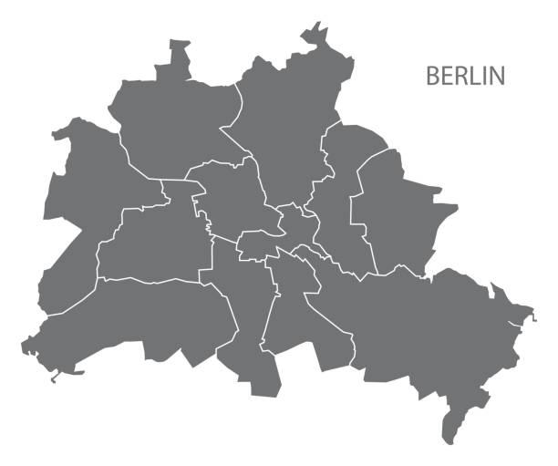자치 읍 면으로 베를린 시 지도 회색 그림 실루엣 모양 - 베를린 stock illustrations