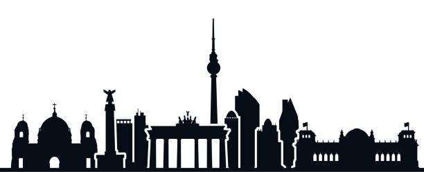 ilustrações de stock, clip art, desenhos animados e ícones de berlin city silhouette - for stock - berlin wall