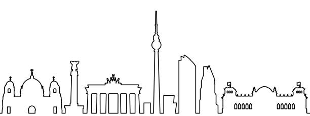ilustrações de stock, clip art, desenhos animados e ícones de berlin city silhouette one line - stock vector - berlin wall