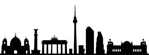 ilustrações de stock, clip art, desenhos animados e ícones de berlin city silhouette - stock vector - berlin wall