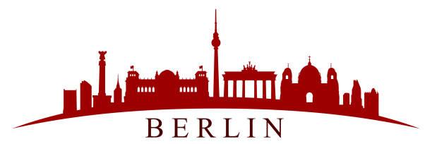 ilustrações de stock, clip art, desenhos animados e ícones de berlin city silhouette - vector - berlin wall