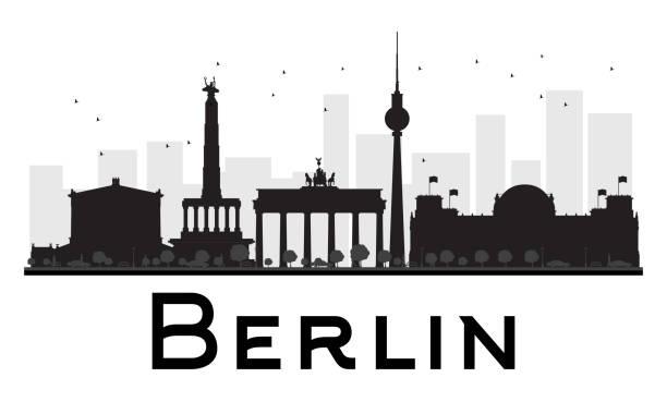 베를린 도심 스카이라인의 검은색과 인명별 실루엣. - 베를린 stock illustrations