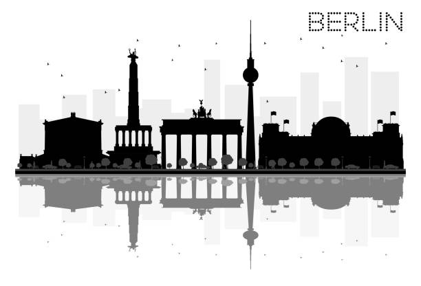 bildbanksillustrationer, clip art samt tecknat material och ikoner med berlin city skyline svartvit siluett med reflektioner. - berlin street