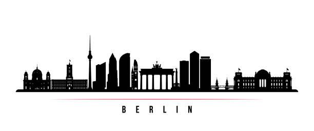 베를린 도시 스카이 라인 수평 배너입니다. 독일 베를린 시의 그림자는 흑인과 백인. 디자인을 위한 벡터 템플릿입니다. - 베를린 stock illustrations
