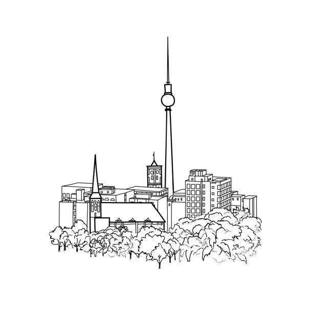 bildbanksillustrationer, clip art samt tecknat material och ikoner med berlin stadsbild. res tyskland. berömda byggnader stadssilhuetten - berlin street