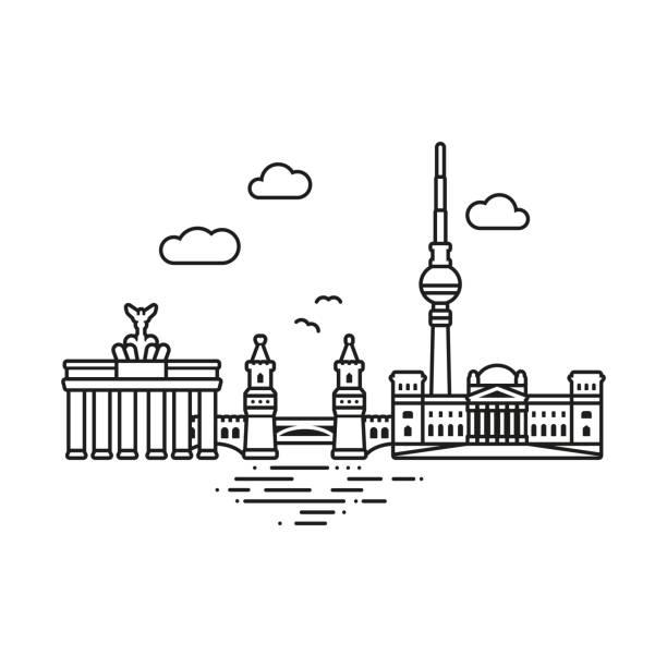 베를린 도시 벡터 일러스트 레이 션 - 베를린 stock illustrations