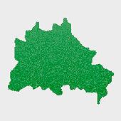 Berlin German State Map Green Hexagon Pattern