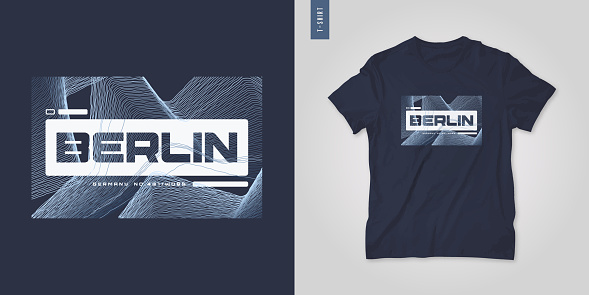 Berlin Germany. Abstract geometric t-shirt vector design, poster, print, template.
