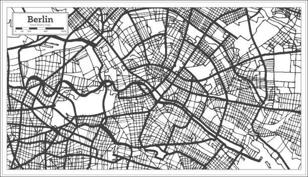 bildbanksillustrationer, clip art samt tecknat material och ikoner med berlin tyskland stadskarta i svart och vit färg. - berlin street