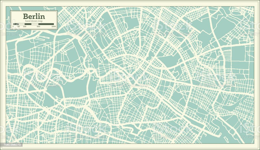 Berlin Germany City Map In Retro Style Outline Map Stock Vector Art
