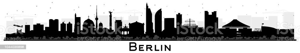 Berlin Germany City Skyline Silhouette with Black Buildings Isolated on White. vector art illustration
