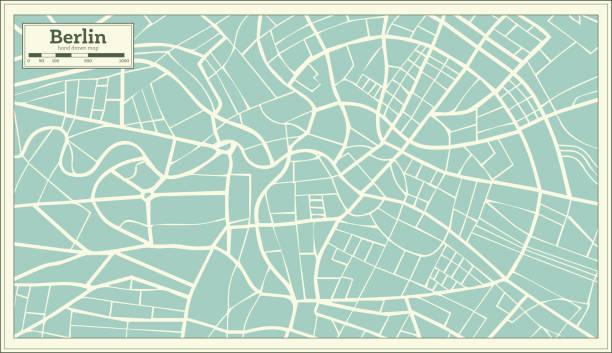bildbanksillustrationer, clip art samt tecknat material och ikoner med berlin tyskland karta i retrostil. - berlin street