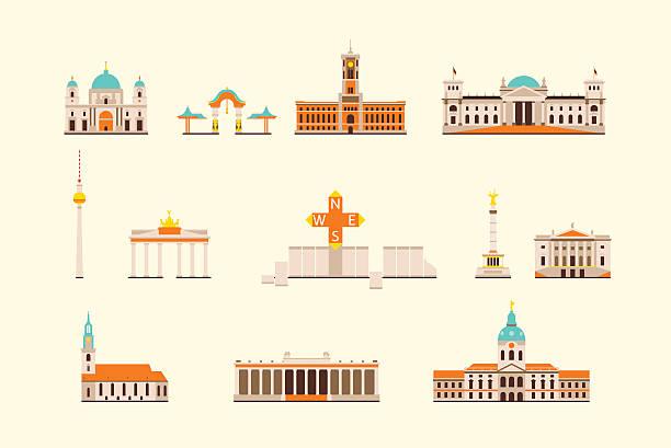 ilustrações de stock, clip art, desenhos animados e ícones de edifício histórico de berlim - berlin wall