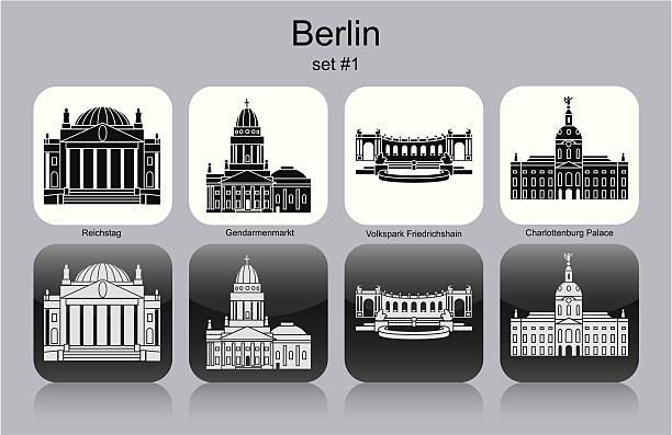 bildbanksillustrationer, clip art samt tecknat material och ikoner med berlin icons - berlin street