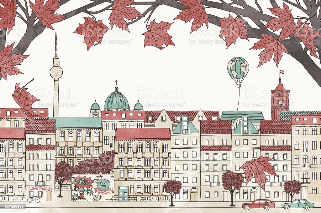Berlin in autumn vector art illustration