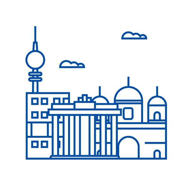 bildbanksillustrationer, clip art samt tecknat material och ikoner med berlin linje ikon koncept. berlin flat vektor symbol, underteckna, kontur illustration. - berlin street