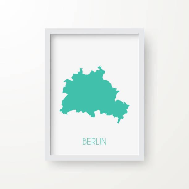 ilustrações de stock, clip art, desenhos animados e ícones de berlin map in a frame on white background - berlin wall