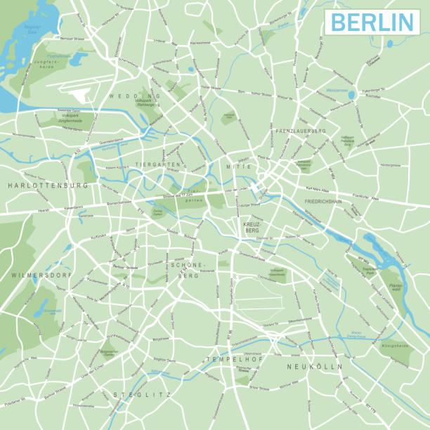 bildbanksillustrationer, clip art samt tecknat material och ikoner med berlin karta - vektorillustration - berlin street