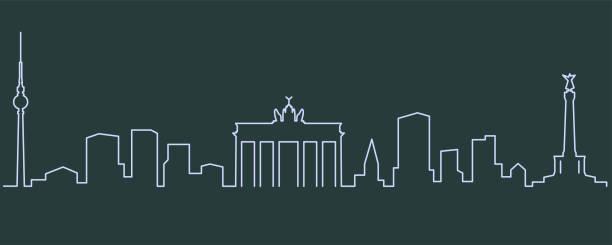 einzelne zeile skyline berlin - berlin stock-grafiken, -clipart, -cartoons und -symbole