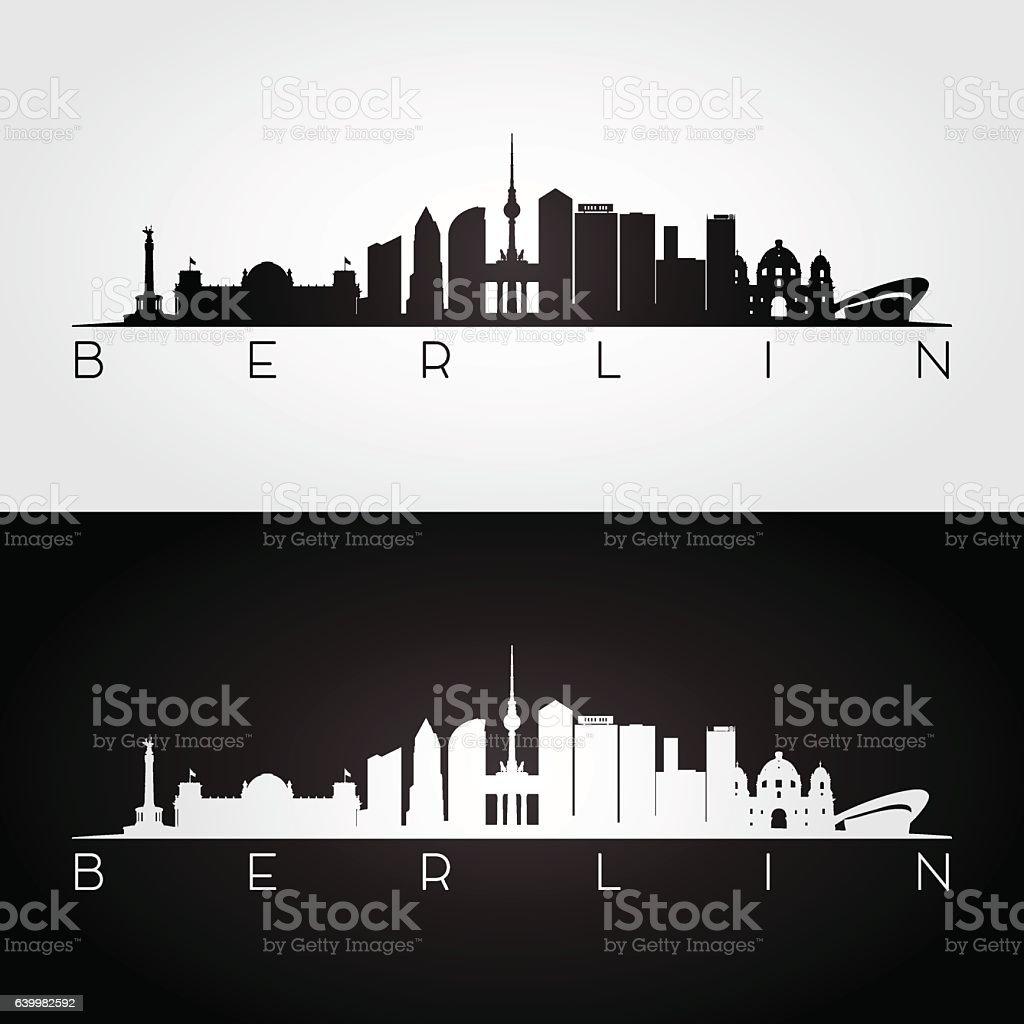 Berlin skyline and landmarks silhouette. vector art illustration