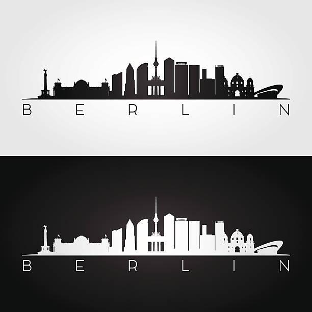 berlin skyline and landmarks silhouette. - 베를린 stock illustrations