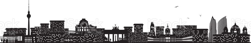 berlin skyline black vector art illustration