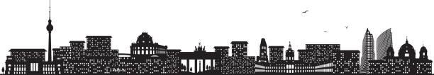 ilustrações de stock, clip art, desenhos animados e ícones de berlin skyline black - berlin wall