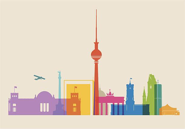 bildbanksillustrationer, clip art samt tecknat material och ikoner med berlin skyline colored - berlin city