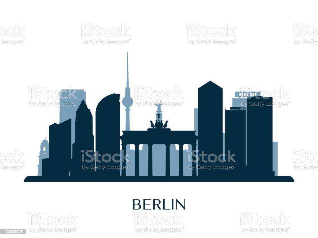 Berlin skyline, monochrome silhouette. Vector illustration. vector art illustration
