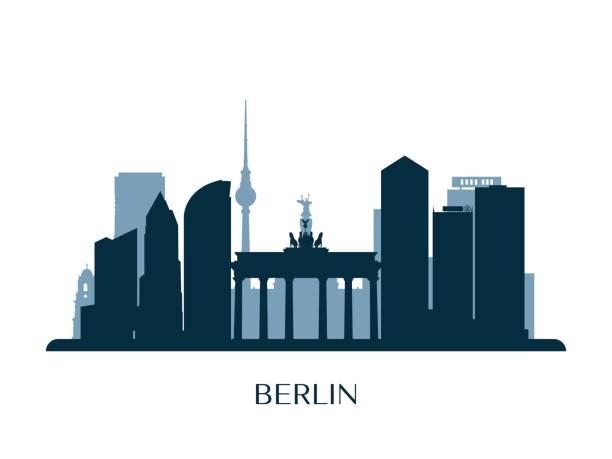베를린 스카이 라인, 흑백 실루엣 벡터 일러스트입니다. - 베를린 stock illustrations