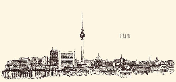 ilustrações de stock, clip art, desenhos animados e ícones de silhueta de horizonte de berlim de mão desenhar vetor de gravação - berlin wall