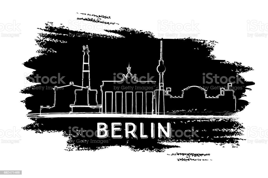 Berlin Skyline Silhouette. Hand Drawn Sketch. royalty-free berlin skyline silhouette hand drawn sketch stock vector art & more images of architecture