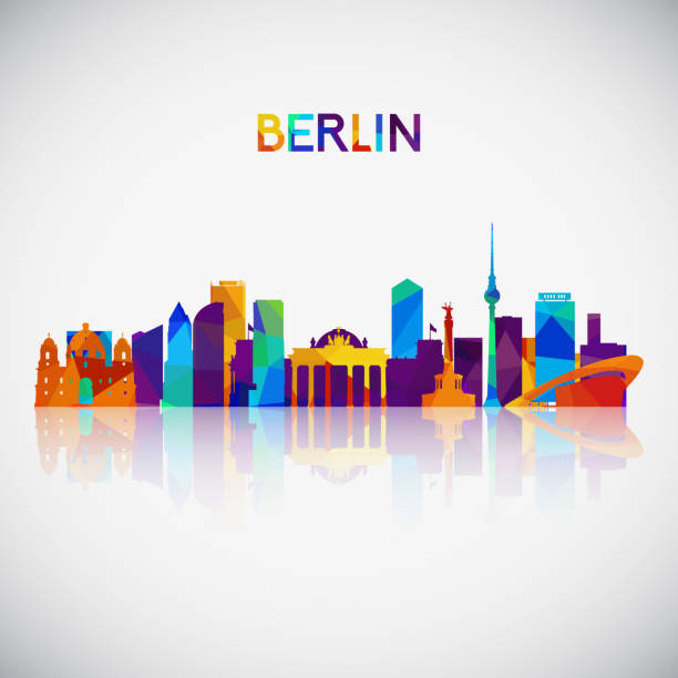 bildbanksillustrationer, clip art samt tecknat material och ikoner med berlin skyline siluett i färgglada geometriska stil. symbol för din design. vektorillustration. - berlin city